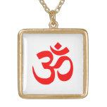Símbolo de OM Shanti OM Aum Namah Shivay Omkara Colgante Cuadrado