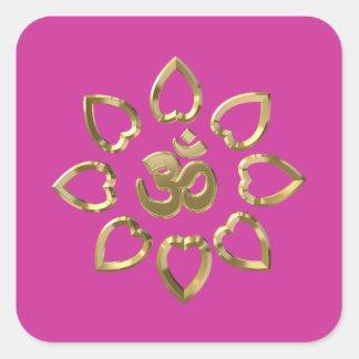 Símbolo de oro de OM Calcomanía Cuadrada