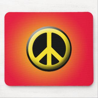 Símbolo de paz (amarillo) alfombrilla de ratones