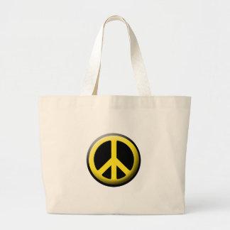 Símbolo de paz (amarillo) bolsa tela grande