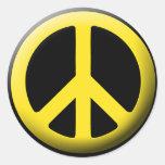 Símbolo de paz (amarillo) etiqueta redonda