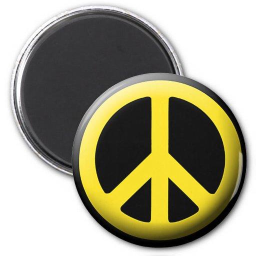 Símbolo de paz amarillo imán redondo 5 cm