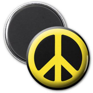 Símbolo de paz (amarillo) imán redondo 5 cm