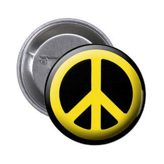 Símbolo de paz (amarillo) pin redondo 5 cm
