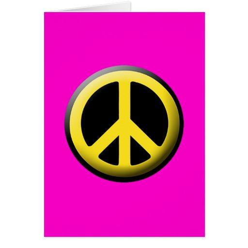 Símbolo de paz (amarillo) tarjeta de felicitación