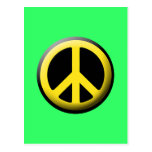 Símbolo de paz (amarillo) tarjeta postal