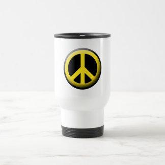 Símbolo de paz (amarillo) taza de viaje de acero inoxidable