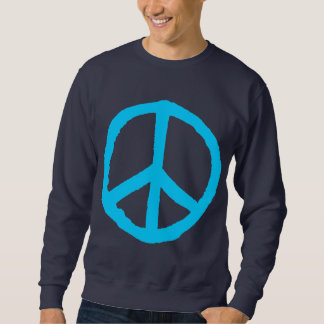 Símbolo de paz áspero - azul de cielo en oscuridad sudaderas encapuchadas