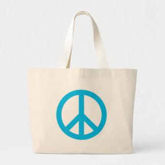 Símbolo de paz - azul claro bolsa tela grande