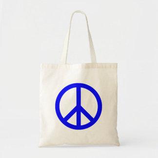 Símbolo de paz azul y blanco bolsa tela barata
