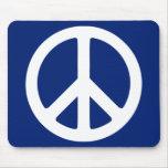 Símbolo de paz azul y blanco tapetes de ratón
