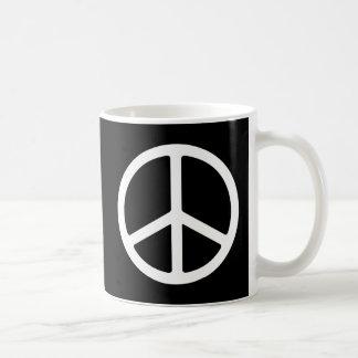 Símbolo de paz blanco flaco tazas de café