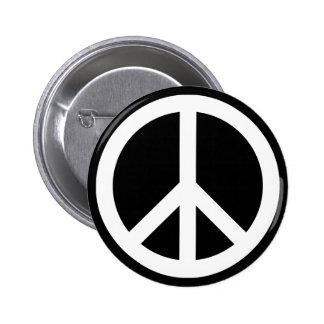 Símbolo de paz blanco pin redondo de 2 pulgadas