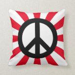Símbolo de paz blanco y negro con Starburst Cojin