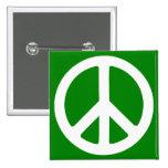 Símbolo de paz blanco y verde pin