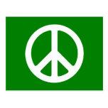Símbolo de paz blanco y verde postal