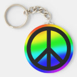 Símbolo de paz brillante del arco iris llaveros personalizados