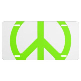 Símbolo de paz chartreuse placa de matrícula