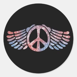 Símbolo de paz con alas pegatina redonda