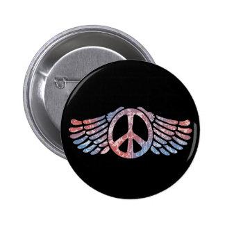 Símbolo de paz con alas pin redondo 5 cm