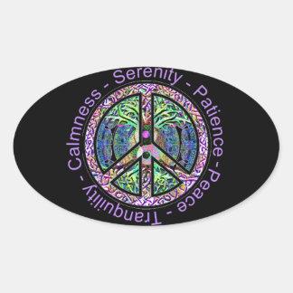 Símbolo de paz con la paz, armonía, balanza pegatina ovalada