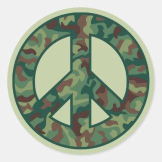 Símbolo de paz de Camo Pegatina Redonda
