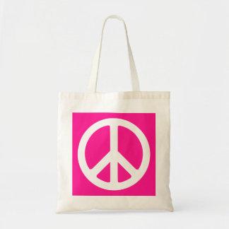 Símbolo de paz de color rosa oscuro y blanco bolsas de mano