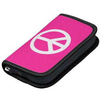 Símbolo de paz de color rosa oscuro y blanco planificador