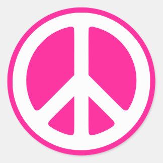 Símbolo de paz de color rosa oscuro y blanco pegatina redonda