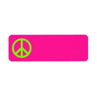 Símbolo de paz de color rosa oscuro y chartreuse etiquetas de remite