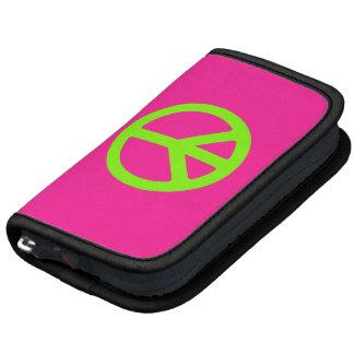 Símbolo de paz de color rosa oscuro y chartreuse organizadores