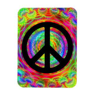 Símbolo de paz de la blanco de Tiedye Rectangle Magnet