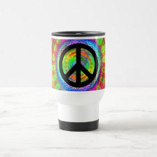 Símbolo de paz de la blanco de Tiedye Taza Térmica