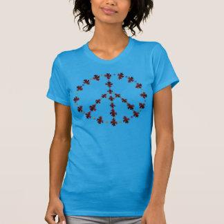 Símbolo de paz de la hoja del roble con los puntos camisas