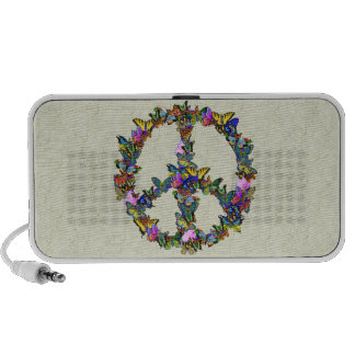 Símbolo de paz de la mariposa laptop altavoces