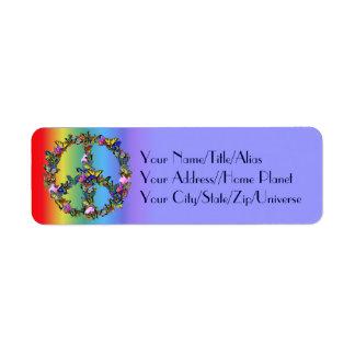 Símbolo de paz de la mariposa etiqueta de remite