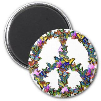 Símbolo de paz de la mariposa imán redondo 5 cm