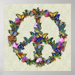 Símbolo de paz de la mariposa impresiones