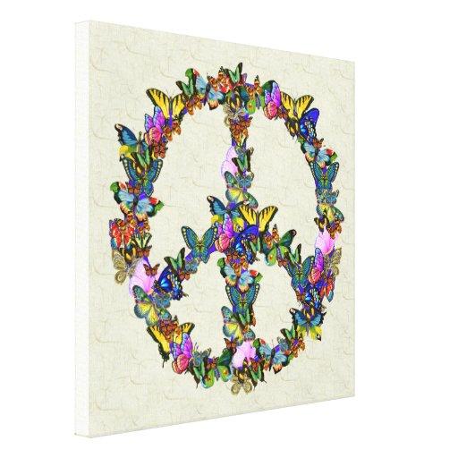Símbolo de paz de la mariposa lona estirada galerías