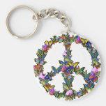 Símbolo de paz de la mariposa llavero