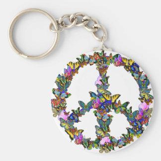 Símbolo de paz de la mariposa llavero redondo tipo pin
