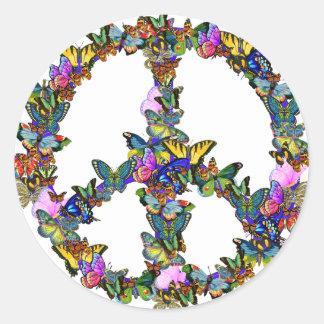 Símbolo de paz de la mariposa pegatinas redondas