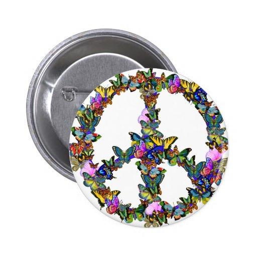 Símbolo de paz de la mariposa pins