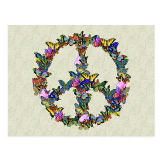 Símbolo de paz de la mariposa postales