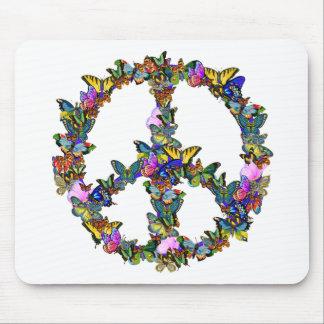 Símbolo de paz de la mariposa alfombrillas de ratón