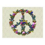 Símbolo de paz de la mariposa tarjeta postal