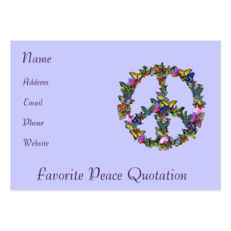 Símbolo de paz de la mariposa tarjetas de visita grandes