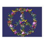 Símbolo de paz de la mariposa tarjetas postales