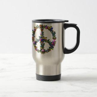 Símbolo de paz de la mariposa taza de viaje