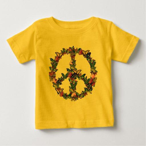Símbolo de paz de la mariposa tee shirt